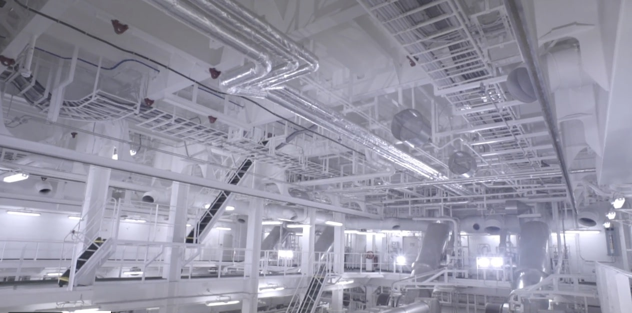 Vessel interior, shot from the corporate video of Cardiff LNG